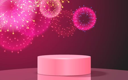 pink podium and colorful firework in the studio room