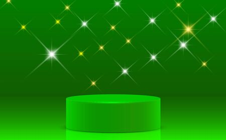 green podium with sparkle light in the room Ilustrace