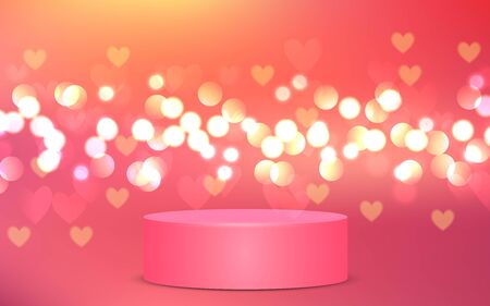 pink podium with heart light abstract background Ilustrace