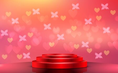 red podium with heart light abstract background