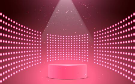 pink podium with spotlight on in the stage