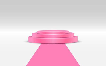 Podio rosa con alfombra rosa sobre fondo blanco. Ilustración de vector