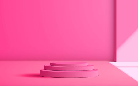 pink podium with sunlight in the studio room