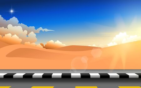 landscape of road in the desert in the morning Vektoros illusztráció