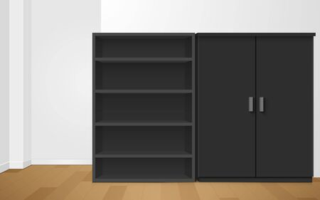 black showcase and cabinet in the room Ilustracja