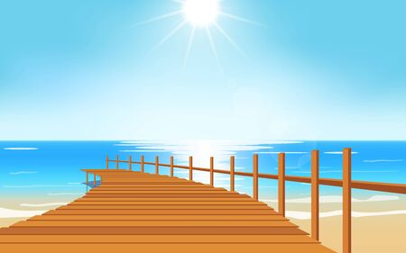 landscape of wooden bridge on the beach in day time Ilustración de vector