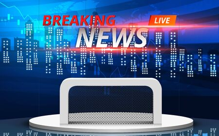 white table and breaking news on lcds background in the news studio room Çizim