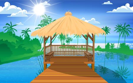 landscape of wooden pavilion at the beach on the island