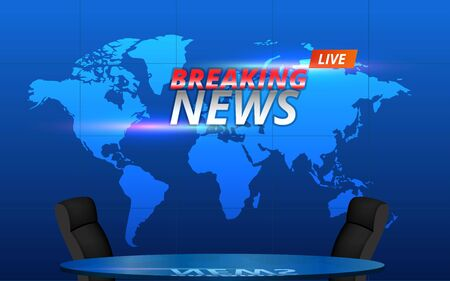 glass table and chairs with breaking news on lcds background in the news studio room