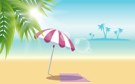 colorful umbrella and beach mat on the beach in summer Illustration