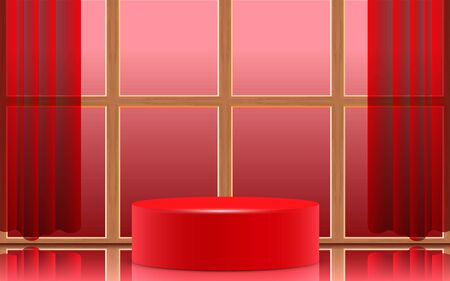 red podium with wooden windows in the studio room