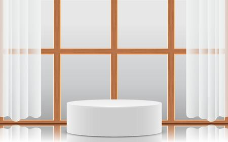 white podium with wooden windows in the white room