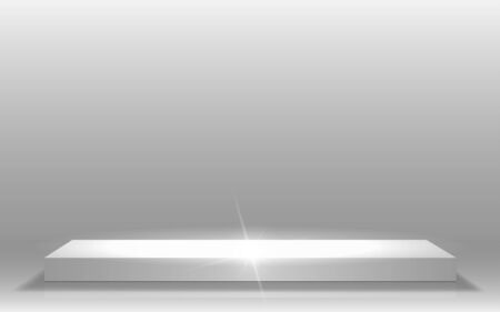 white podium and spotlight light in the studio room