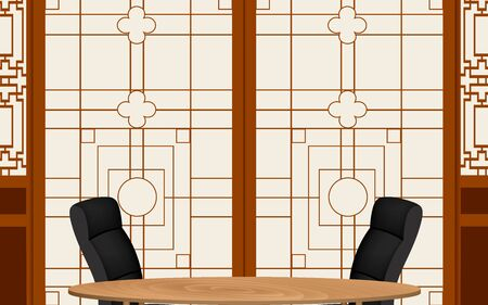 wooden table and chairs with chinese wall background in the news studio room