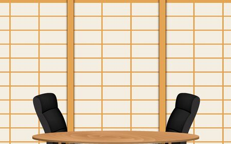 wooden table and chairs with japan wall background in the news studio room