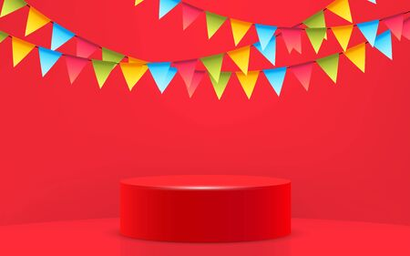 red podium and colorful hanging flags in the studio room