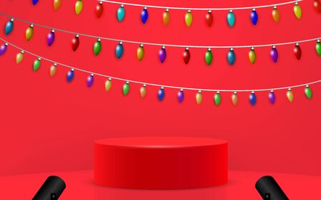 red podium and colorful hanging light tube in the studio room Illustration