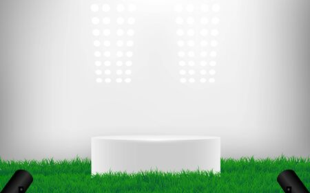 white podium on green grass with spotlight in the studio room