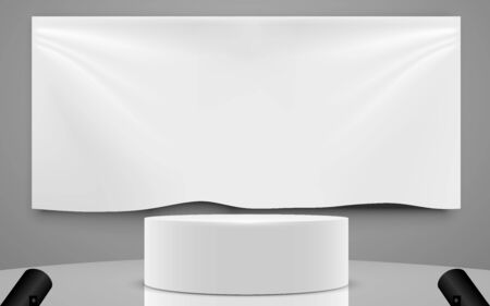 white podium and white billboard background in the studio room