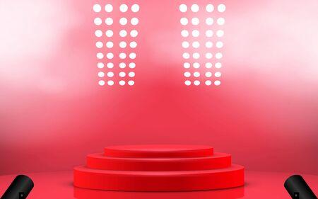podio rosso con riflettori e fumo nella sala studio