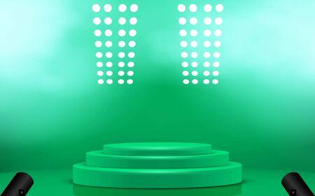 green podium with spotlight and smoke on the studio room