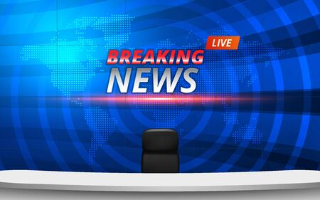 white table and chairs with breaking news live on lcds background in the news studio room Çizim