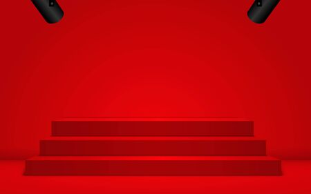 red podium with spotlight in the red room Illustration
