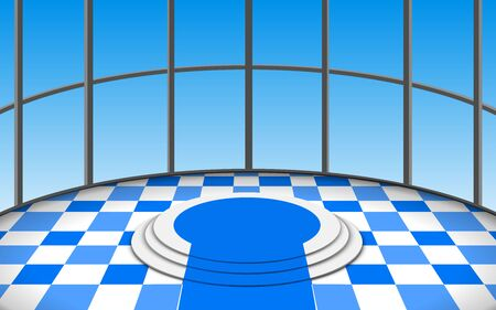 white podium and blue carpet in the circle room Illustration