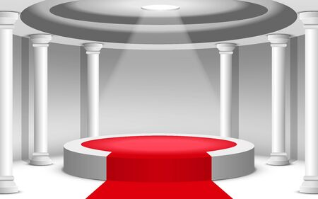 white podium and red carpet white tower in the white room