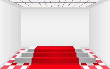 white podium and red carpet in the white room