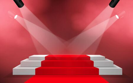 white podium and red carpet with spotlight on the stage Illustration