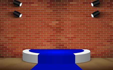 white podium and blue carpet with spotlight on the brick room Illustration