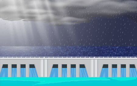 landscape of dam at the river in the rain day Illustration