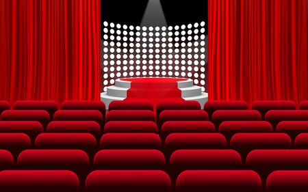 white podium and red carpet with spotlight on the stage in the hall Illustration