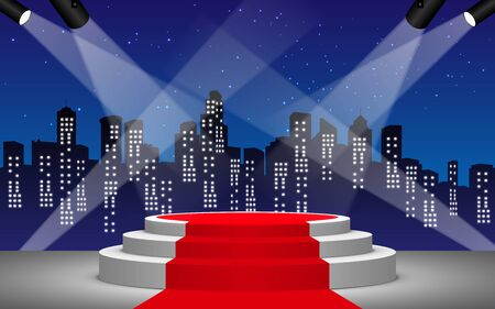 white stage and red curtain with city in the night background