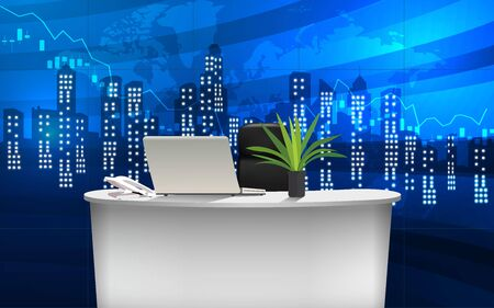 work desk in the office with city in the night background