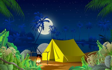 camping on the beach in the night Illustration