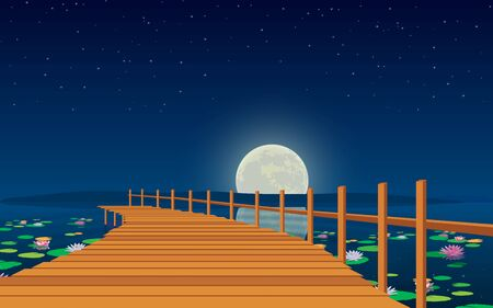 landscape of wooden bridge on the river in the moon night