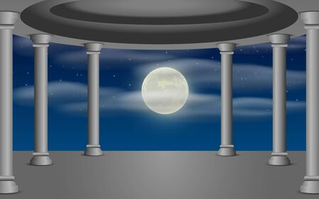the sanctuary with clouds in full moon night Illustration