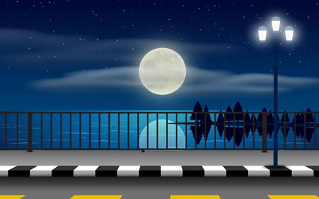 landscape of road on the beach in full moon night Illustration