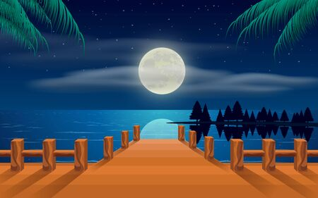 landscape of wooden bridge on the beach in the moon night