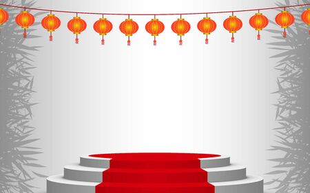 white podium and red carpet with lantern in the white room Illustration