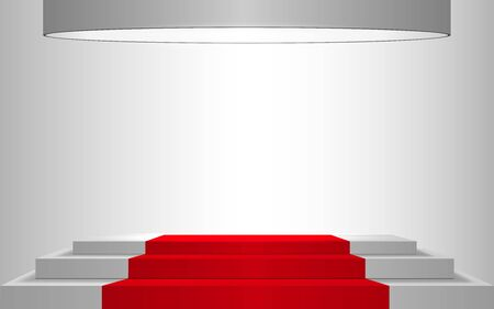 white podium and red carpet with spotlight in the white room Illustration