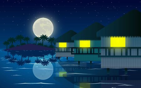 landscape of bungalow at the beach in the night Illustration
