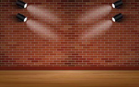 spotlight on the brick wall in the room Illustration