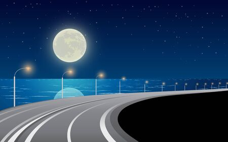landscape of road on the beach in full moon night