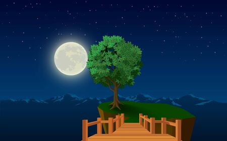 landscape of tree on the cliff in the full moon night