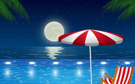 view of outdoor swimming pool on the beach in night Illustration