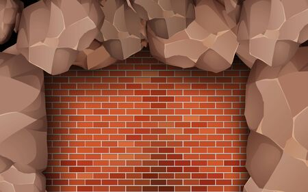 stone waal on the red brick wall Vector Illustratie