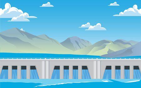 landscape of dam at the river in summer Illustration
